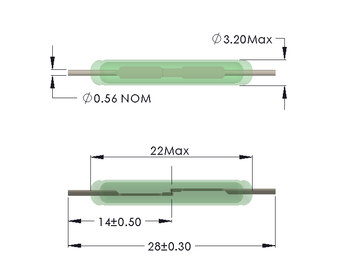 Drawing of HB-2232 Reed Switch for Soldering
