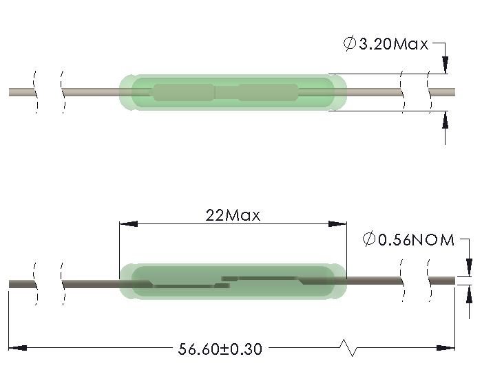 Drawing of HB-2232 Reed Switch