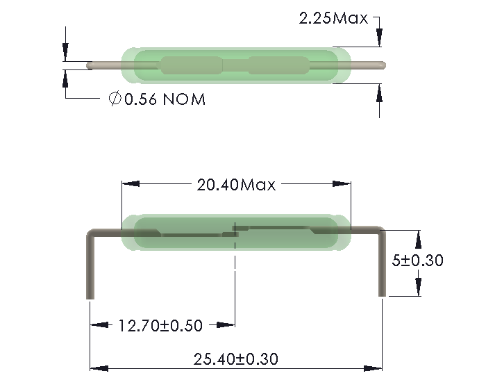 Drawing of IL-2022 Reed Switch for Horizontal mounting