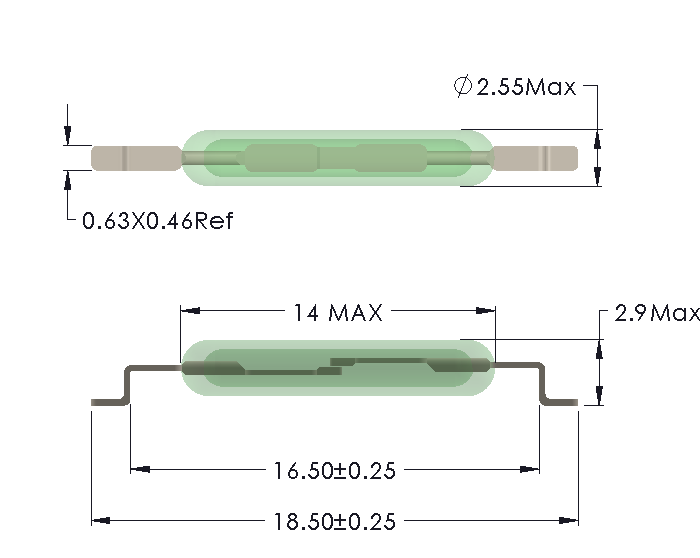 Drawing of MC-1425 Reed Switch for SMD mounting