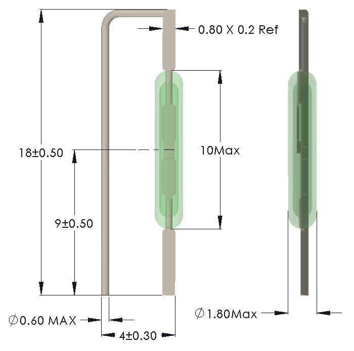 Drawing of MM-1018 Reed Switch for Vertical mounting