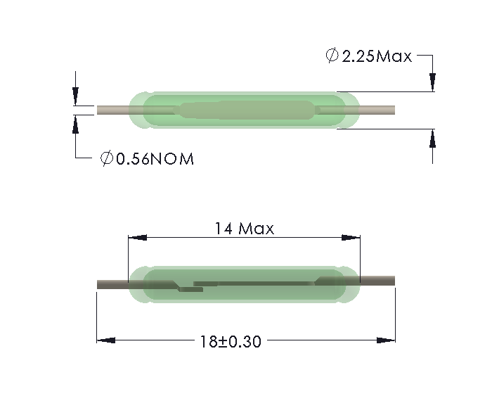 Drawing of MO-1422 Reed Switch for Soldering