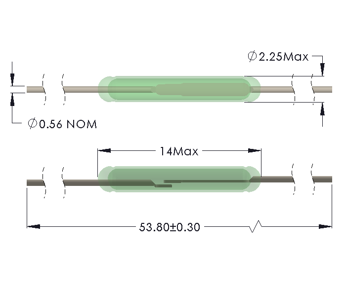 Drawing of MO-1422 Reed Switch