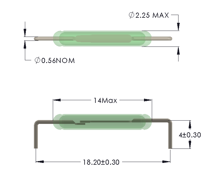 Drawing of MO-1422 Reed Switch for Horizontal mounting