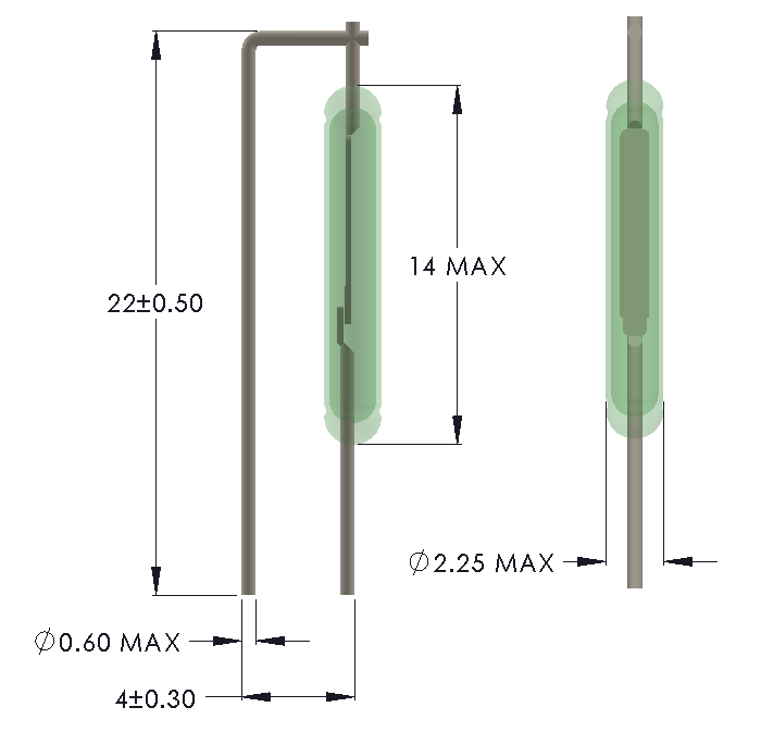 Drawing of MO-1422 Reed Switch for Vertical mounting