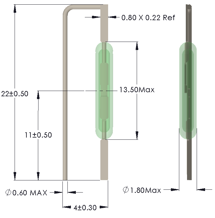 Drawing of RM-1318 Reed Switch for vertical mounting