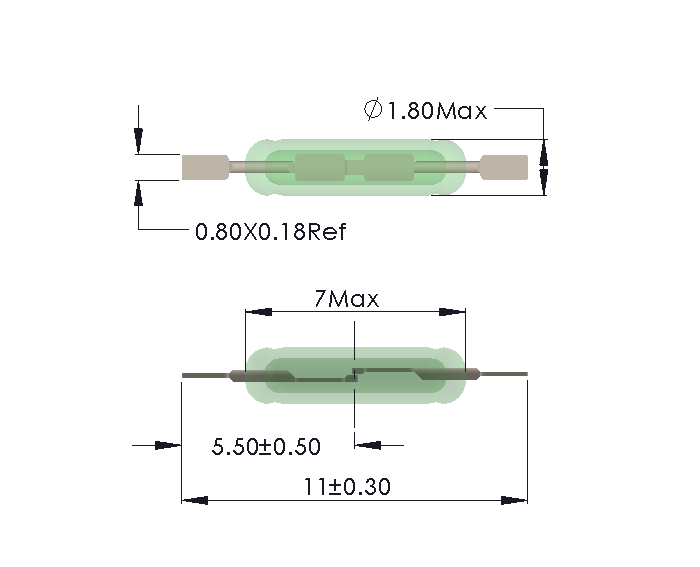 Drawing of UM-0018-H Reed Switch for Soldering