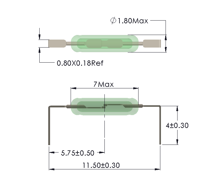 Drawing of UM-0018-H Reed Switch for Horizontal mounting