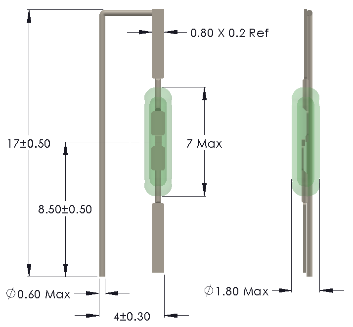 Drawing of UM-0018-H Reed Switch for Vertical mounting