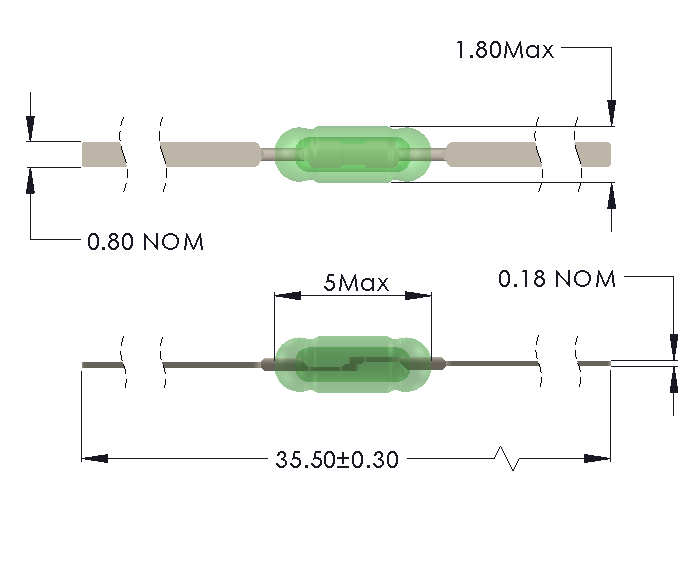 Drawing of UM-0018-M reedswitch
