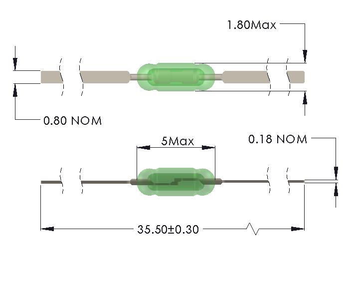 Drawing of UM-0018-M reedswitch