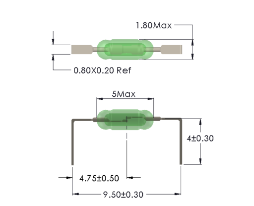 Drawing of UM-0018-M reedswitch for Horizontal mounting