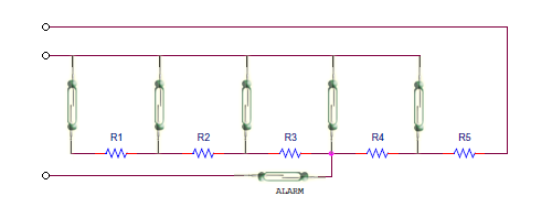 Decreasing Resistance circuit with alarm