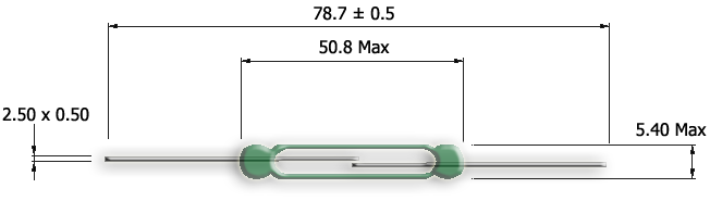 Drawing of HW-5052 High Wattage Reed Switch