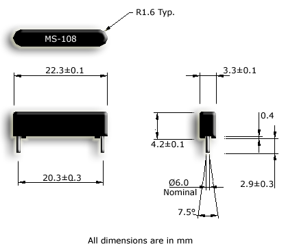 Standard Size, PCB Mountable Reed Sensor Drawing
