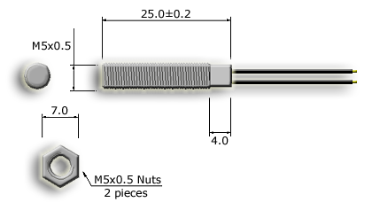 M5 Threaded Cylindrical Reed Sensor Drawing