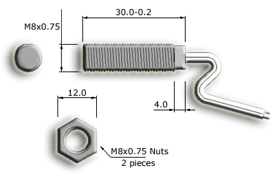 M8 Threaded Cylindrical Reed Sensor Drawing
