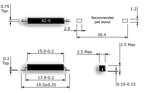 R2-S SMD reed sensor drawing