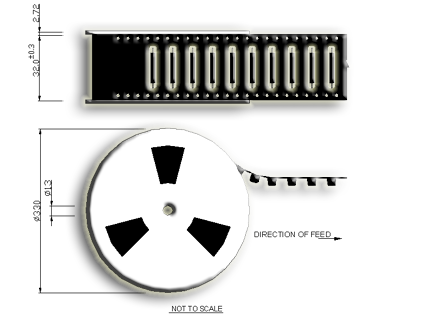 R2 Standard Size Reed Sensor Tape and Reel Drawing