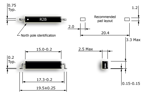R2B-S Normally closed SMD reed sensor drawing