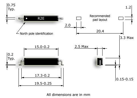 R2E-S SMD Latching reed sensor drawing