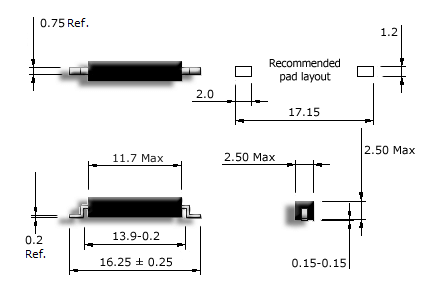 R3-S miniature SMD reed sensor drawing