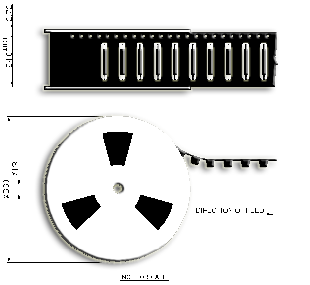 R3 Miniature Reed Sensor Tape and Reel Drawing