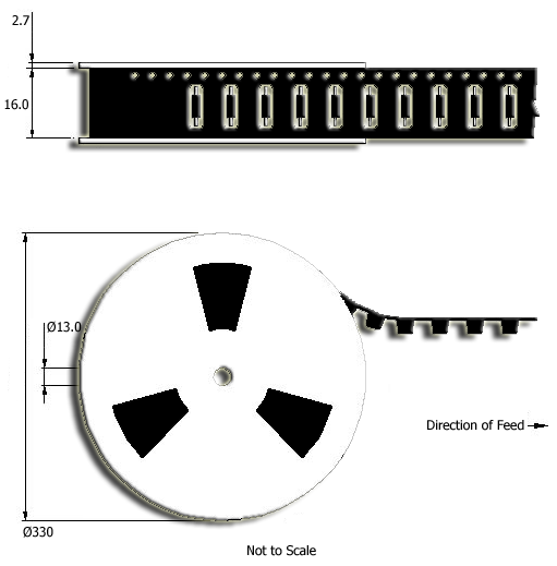 Ultra-miniature Reed Sensor Tape and Reel Drawing