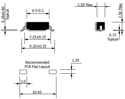 R5 Ultraminiature Reed Sensor Drawing