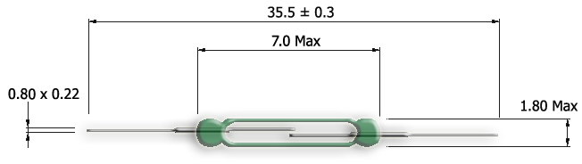 UM-0018-H Ultra Miniature Reed Switch Drawing