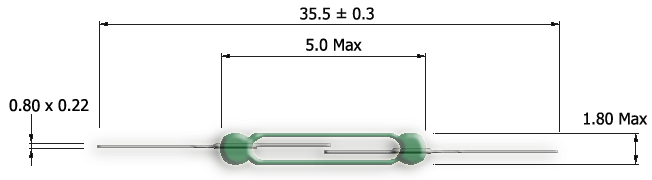 UM-0018-M Ultra Miniature Reed Switch Drawing