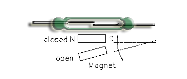 Reed Switch with magnet moving pivoted